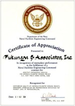 1994 NAVFAC Certificate of Appreciation