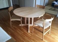 ハードメイプルの無垢丸テーブル120cm直径