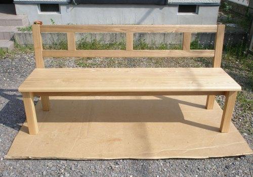 無垢背付きベンチ