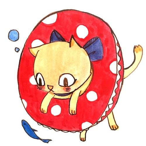 猫と浮き輪