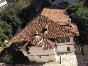 Aerial view of the historic villa