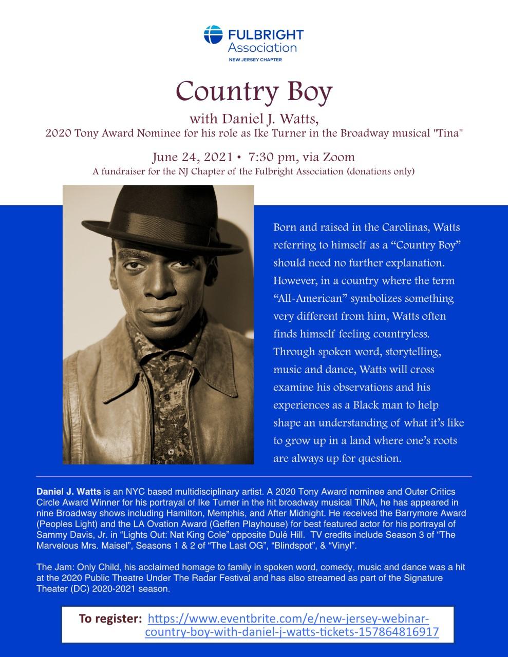 "New Jersey Webinar – ""Country Boy"" with Daniel J. Watts"