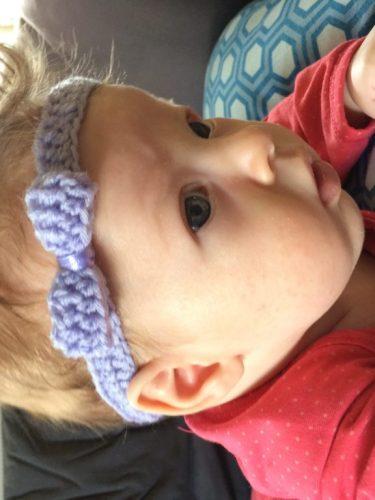 hæklet baby pandebånd