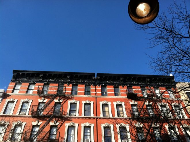 Looking Up at a New York City Apartment Building and Fire Escape