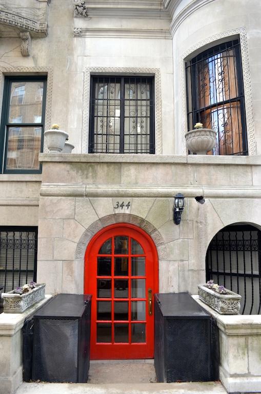 Red door on Riverside Drive