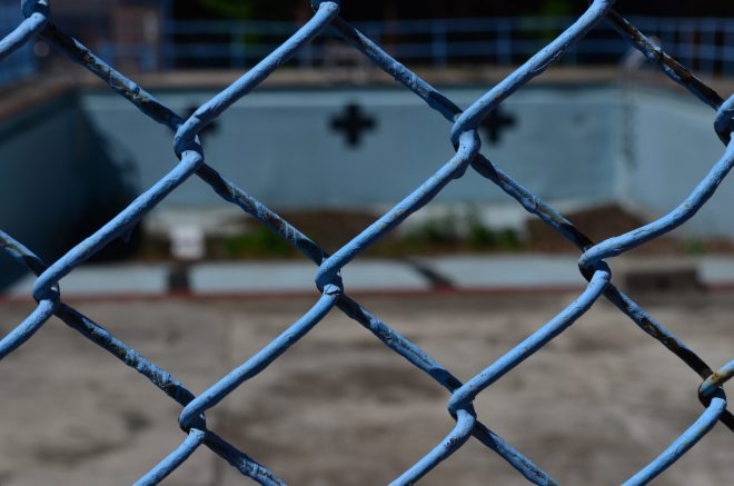 Blue Fence On Governors Island