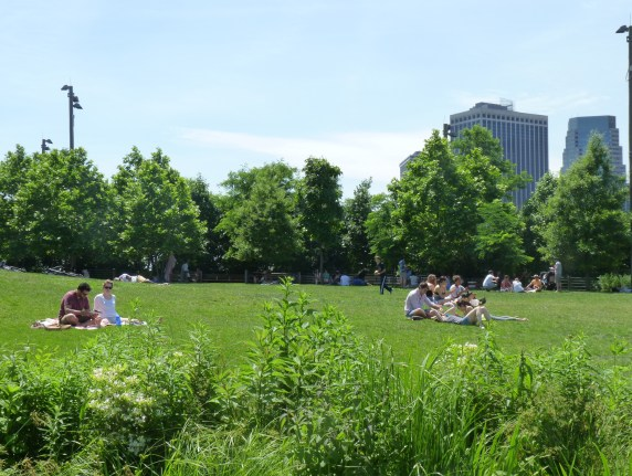 Sitting and Reading In Brooklyn Bridge Park