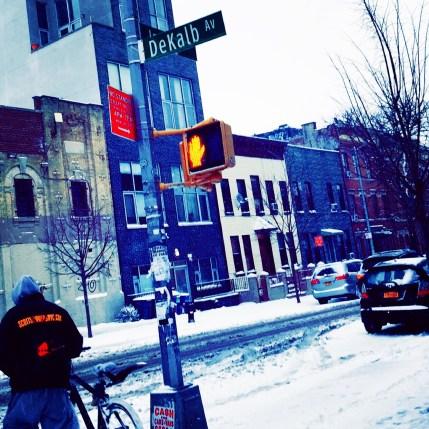 Winter on DeKalb Avenue in Brooklyn