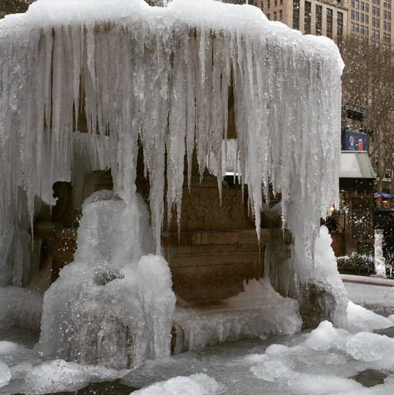 Icicles Hanging from the Fountain in Bryant Park