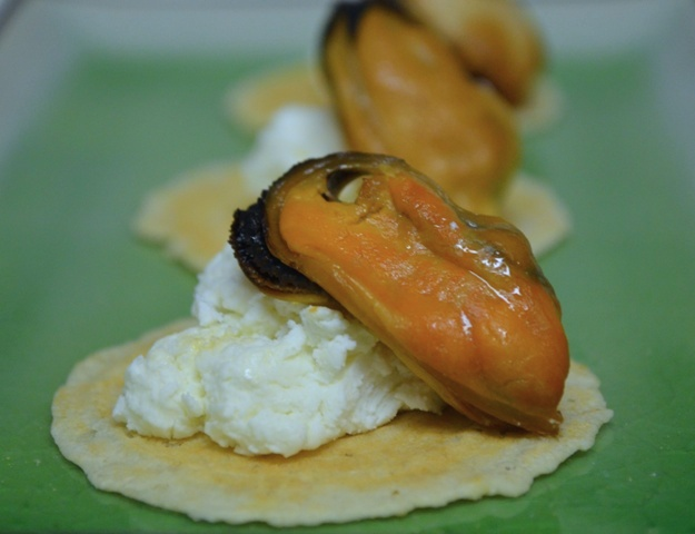 Smoked Mussels with Fresh Chevre