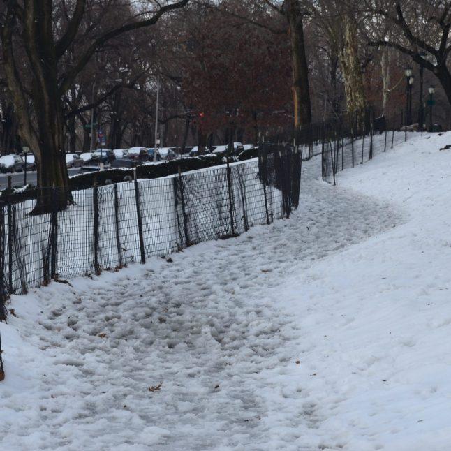 Slushy Path in Riverside Park