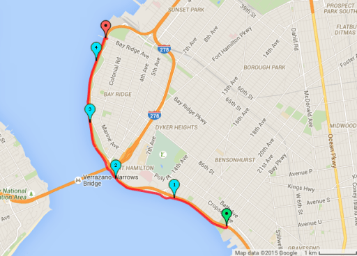 Map of Bike Ride Along Shore Parkway