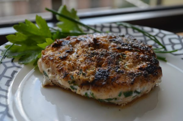 Arctic Char Burger with Chives and Capers