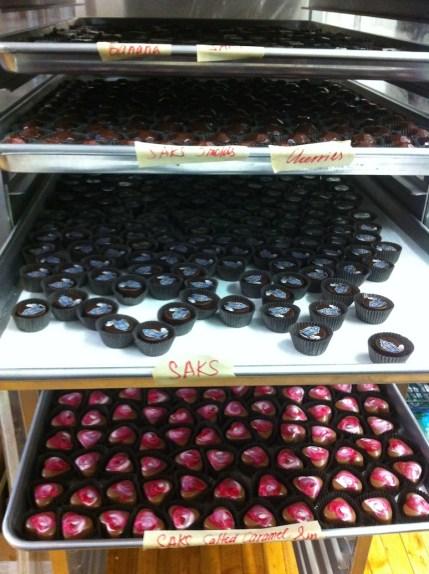 Trays of Handmade Chocolate at Chocolat Moderne