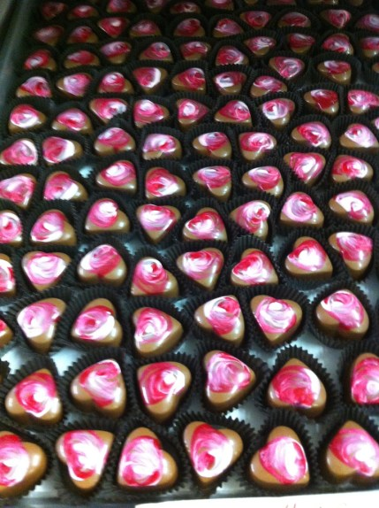 Hand Painted Heart Bonbons at Chocolat Moderne