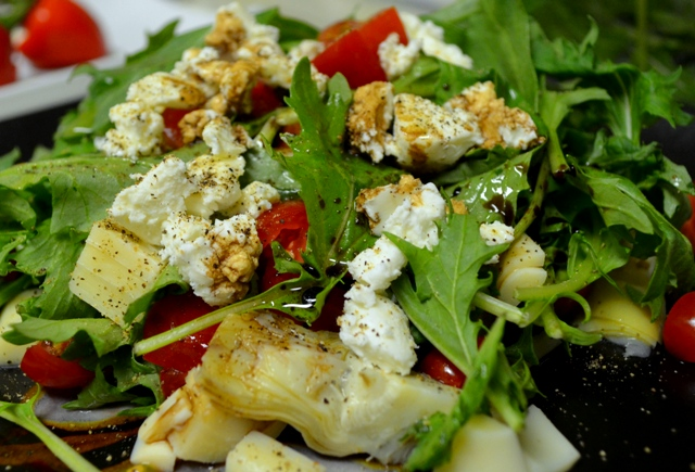 Mizuna Greens Salad with Hearts of Palm, Artichoke Hearts and Goat Cheese