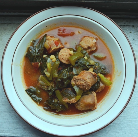 Sweet Turkey Sausage with Small White Beans and Lacinato Kale Soup