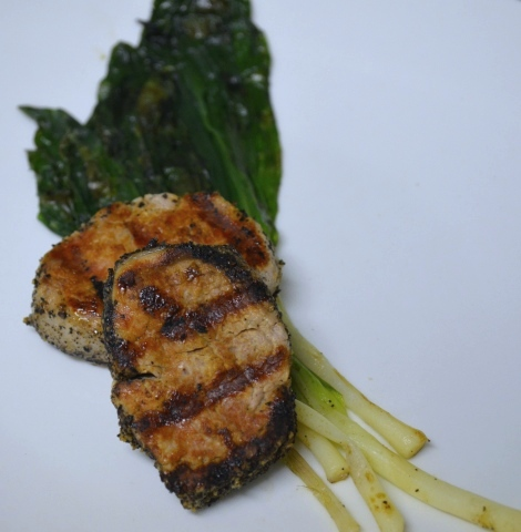 Pepper Crusted Pork Medallions with Grilled Ramps