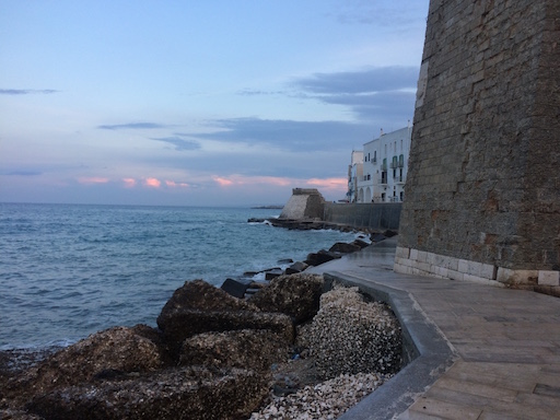 Seawall in the Adriatic in Apulia