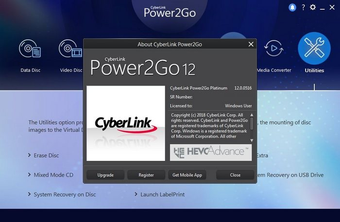 cyberlink power2go 7 activation key