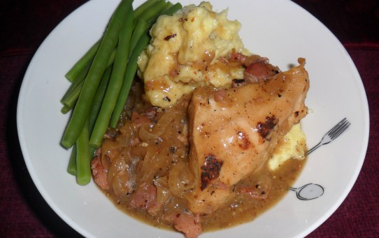 Chicken breast braised in cider with bacon