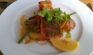 Baked Sea Trout Dressed With Summer Vegetable Ragu and Crispy Potatoes
