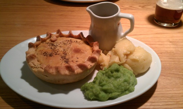 Steak and Ale pie, with mushy peas