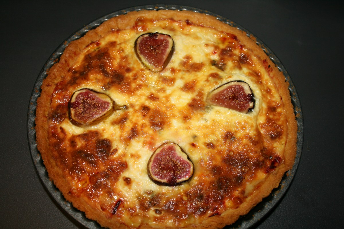 Beetroot, stilton and fig tart