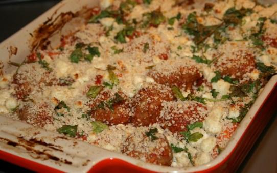 Saucy meatball & carrot bake with crispy feta crumbs