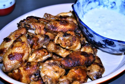 Sticky wings and blue cheese dip