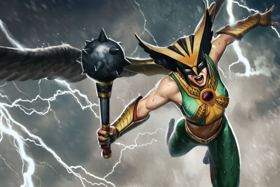 Hawkgirl in action