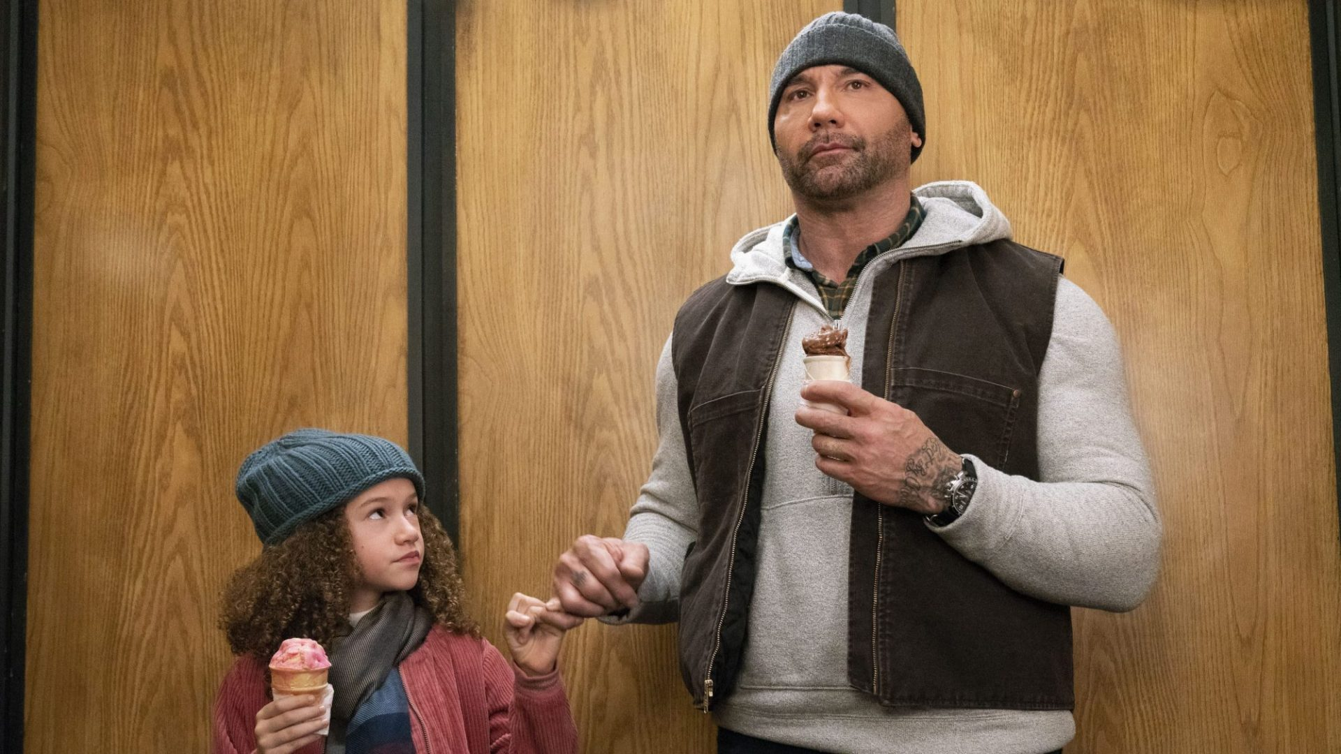 My Spy - Sophie (Chloe Coleman) and JJ (Dave Bautista) in an elevator with ice cream