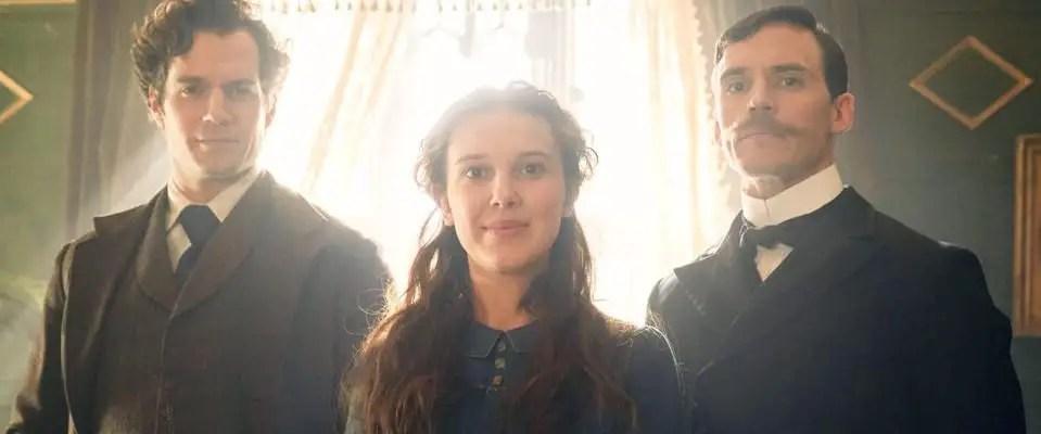 Enola Holmes - Henry Cavill as Sherlock, Millie Bobby Brown as Enola, and Sam Claflin as Mycroft