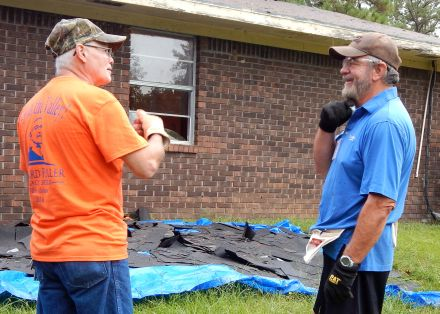 Dan Bosovich (right) talks with homeowner Max Pierre, whose house is undergoing major renovations this week. Dan is also a dedicated Global Builders volunteer, so we asked him why he also enjoys his international volunteering, as well as working here in the U.S.