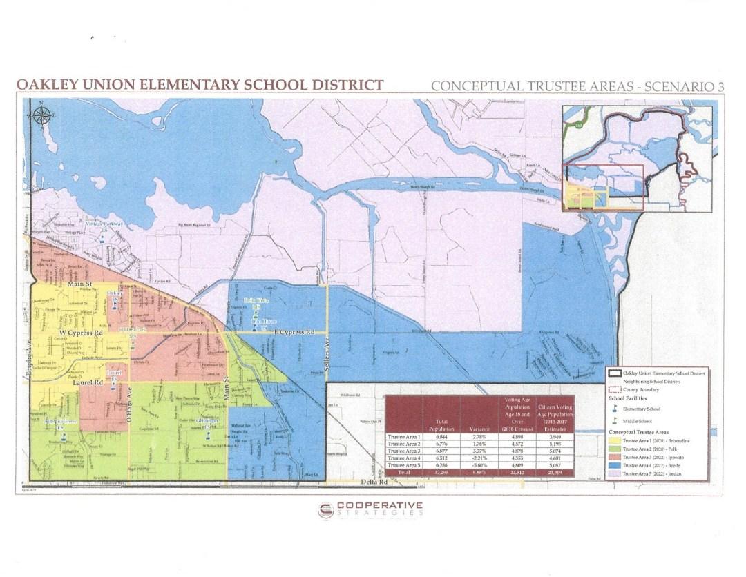Multicolor map of Oakley depicting Oakley Union Elementary School District
