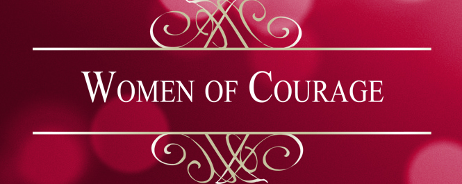 Women of Courage banner, red background with white lettering