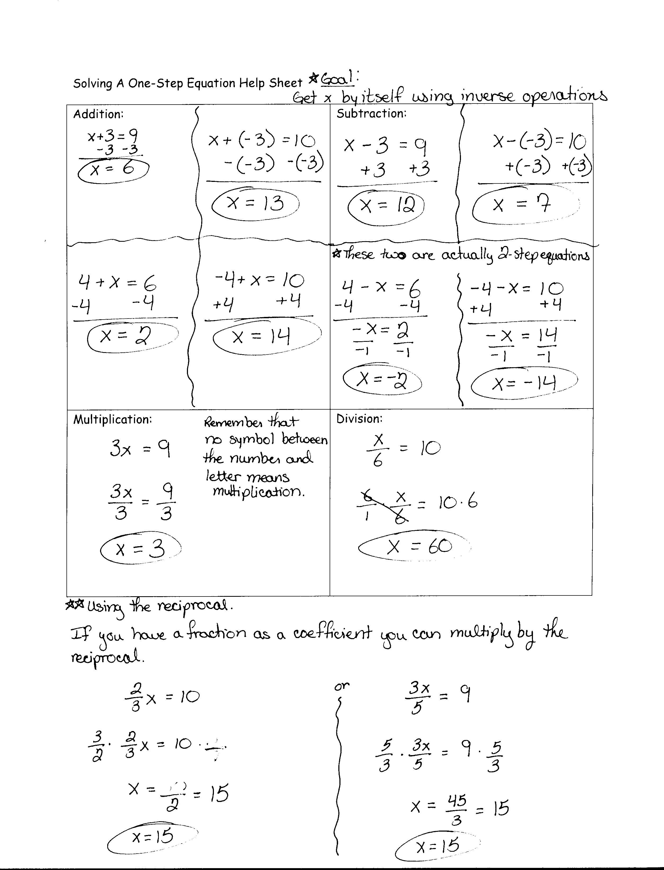1 Step Equations Worksheets Free Programs Utilities