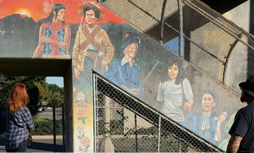 """La Mujer Latina"" was painted by renowned muralist Emigdio Vazquez."