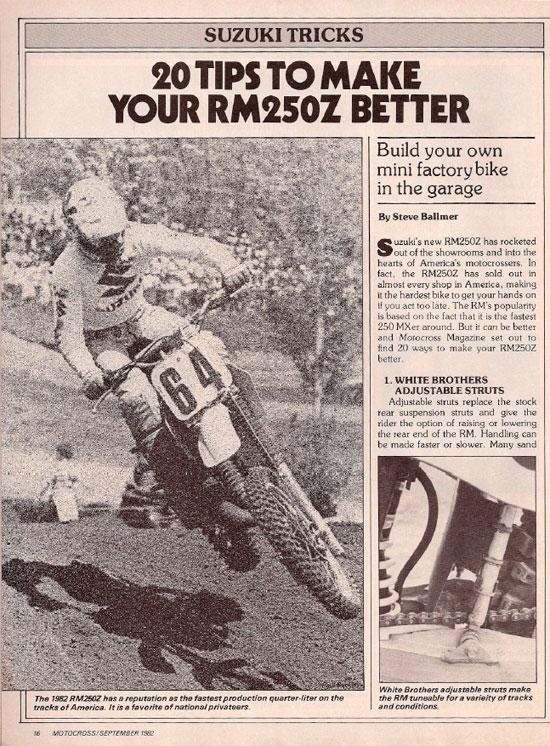Motocross Magazine – Make Your RM Better – Sep 1982