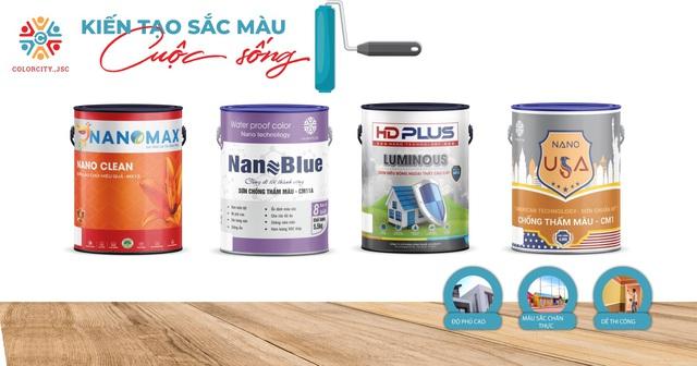 Các nhãn hàng sơn và chống thấm được sản xuất bởi Colorcity: NANOMAX - NANOBLUE - HDPLUS - NANOUSA