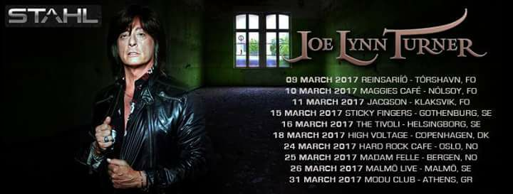 Joe Lynn Turner Announces Touring Band Lineup, 2017 Tour Dates, EU, US, Rainbow