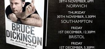 Bruce Dickinson UK Book Signing Tour, Dates, Waterstones, Southhampton, Bristol, Cardiff