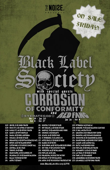 Corrosion of Conformity Tour 2018 w/ Black Label Society, Schedule