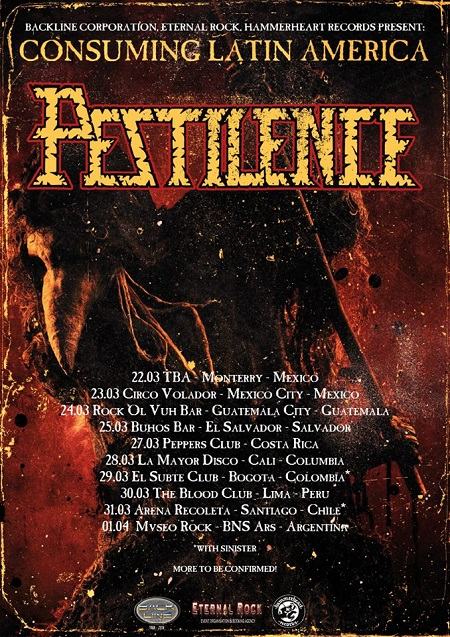 Pestilence 2018 Latin America Tour, Mexico, South America, Chile, Columbia, Peru