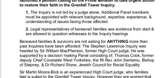 """Adele: Grenfell Tower Inquiry Petition """"We Need Your Help"""""""