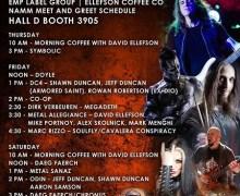 EMP Label Group NAMM 2018 David Ellefson Schedule, Odin, Marc Rizzo, MIKE PORTNOY, ALEX SKOLNICK
