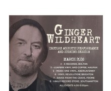 Ginger Wildheart In-Store Schedule – UK,Bolton, Halifax, Abergavenny, Brighton, Frome, Southampton