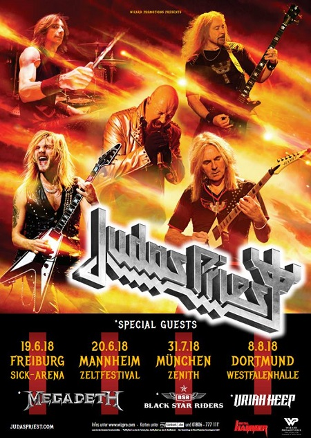 Judas Priest 2018 Tour: Megadeth, Uriah Heep, Black Star Riders Announced for Freiburg, Mannheim, Munchen, Dortmund Shows