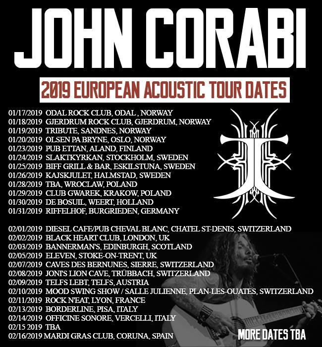 John Corabi 2019 European/UK Tour Dates Announced - Norway, Finland, Sweden, Germany, Poland