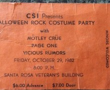 Mötley Crüe – October 29, 1982 w/ Vicious Rumors – Halloween Rock Costume Party